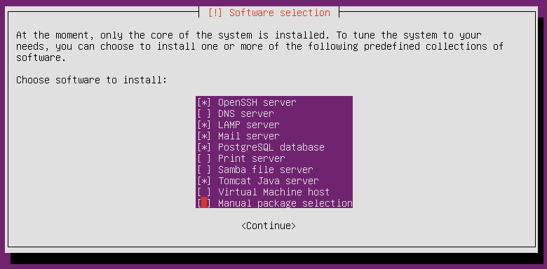 Ubuntu Software selection